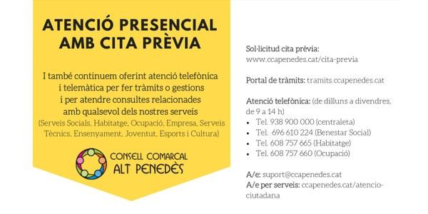 ATENCIÓ PRESENCIAL AMB CITA PRÈVIA